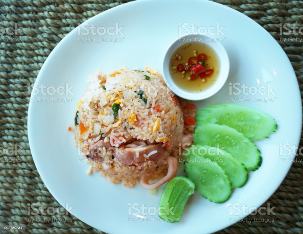 Squid fried rice stock photo
