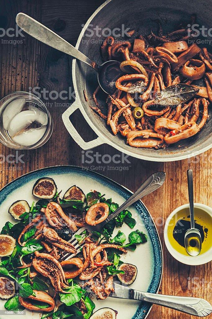 Squid in its own Ink (Calamares En Su Tinta) stock photo