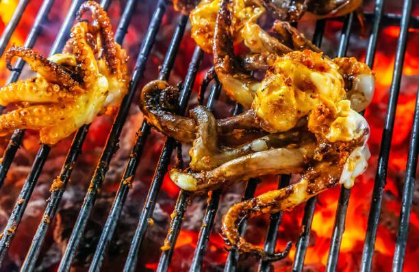 squid octopus cooking bbq steamed - peixe na grelha imagens e fotografias de stock