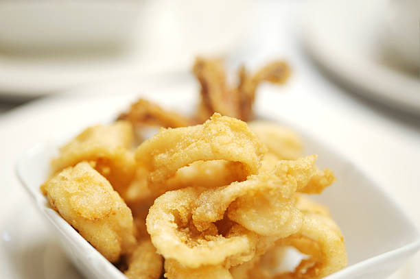 Squid rings deep-fried stock photo