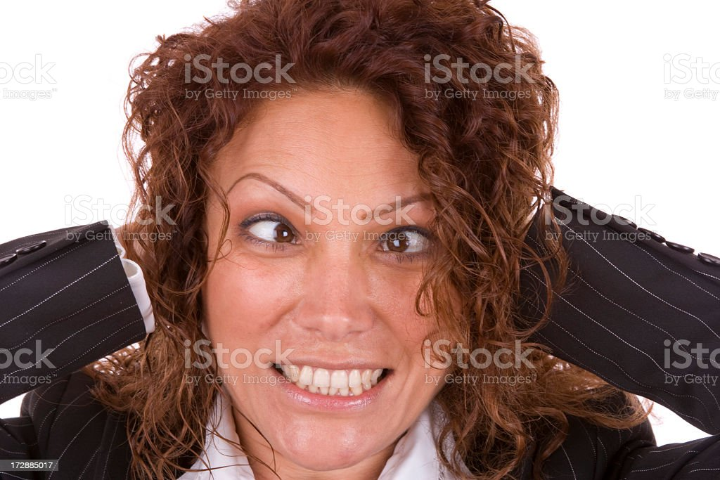 Squinting businesswoman royalty-free stock photo