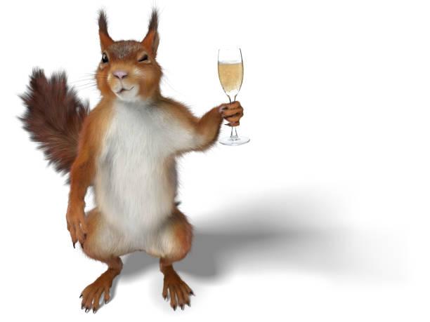 écureuil tenant une flûte de champagne - écureui photos et images de collection