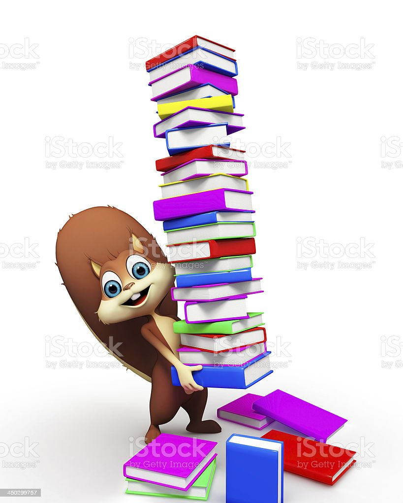 squirrel-is-carrying-the-pile-of-books-picture-id450299757