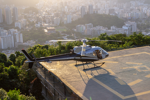 Squirrel model helicopter waiting for permission to fly on Morro da Urca in Rio de Janeiro