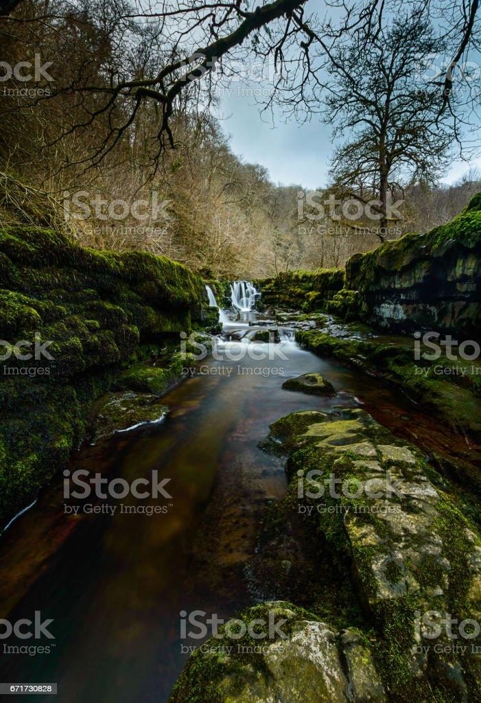 Sqwd Clun-Gwyn Waterfall, Wales stock photo