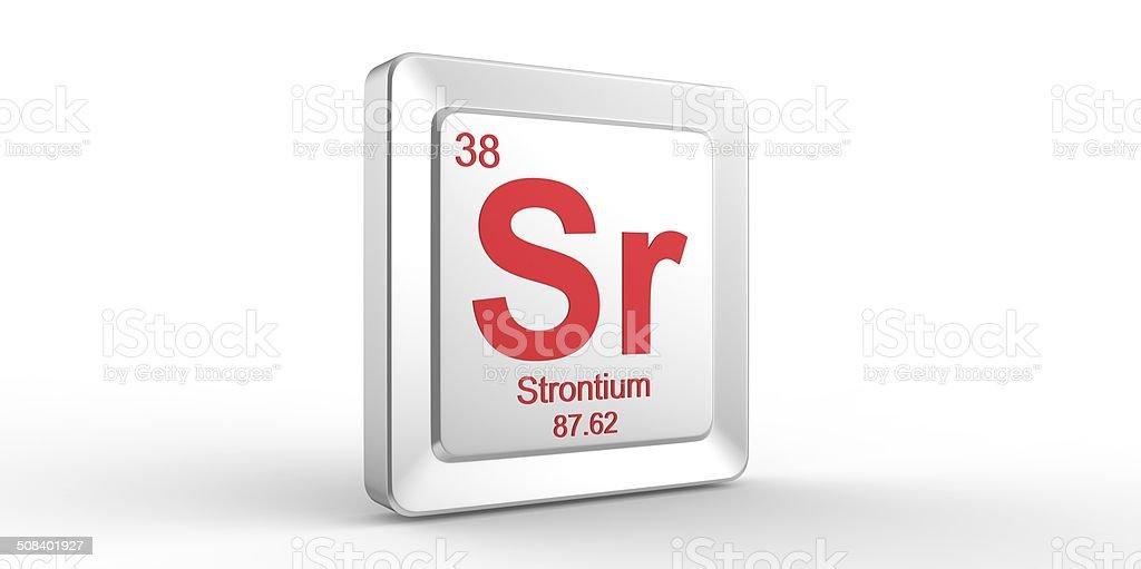 Sr Symbol 38 Material For Strontium Chemical Element Stock Photo