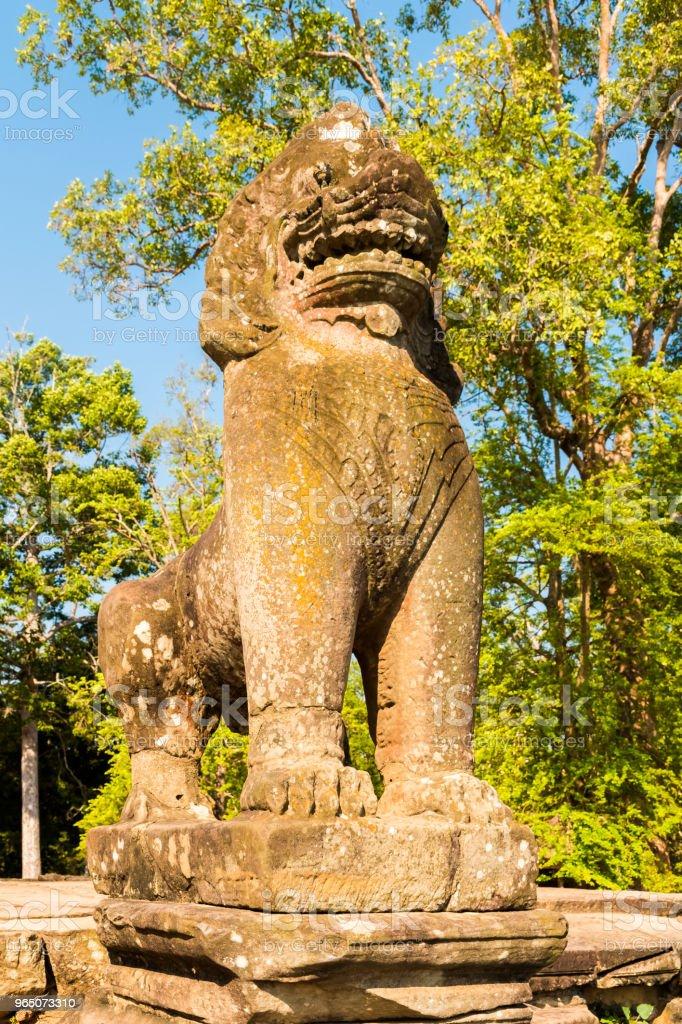 Srah Srang with Lion and Naga statues in Angkor, Cambodia zbiór zdjęć royalty-free