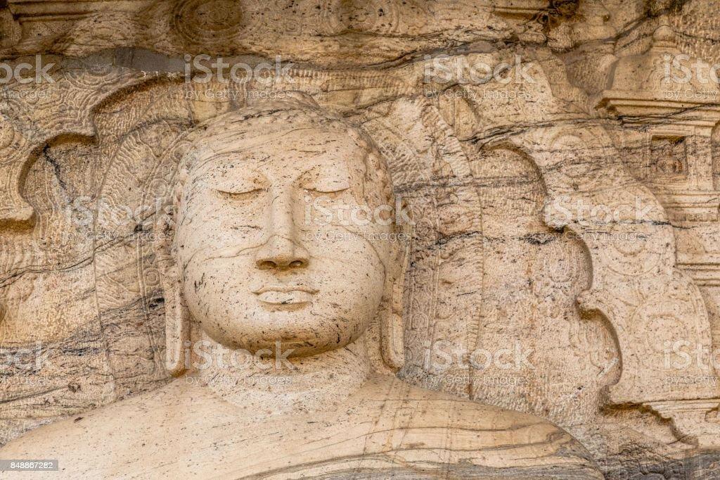 Srene buddha face in Gal Viharaya Temple in Polonnaruwa, Sri Lanka stock photo