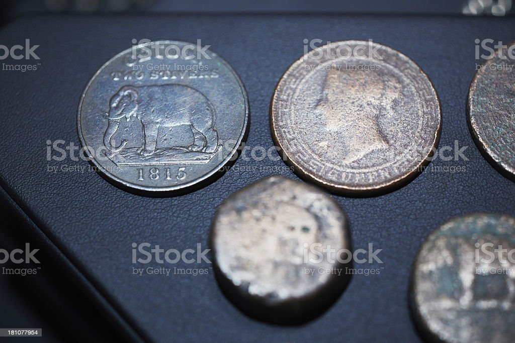 Sri Lanka ancient coins royalty-free stock photo