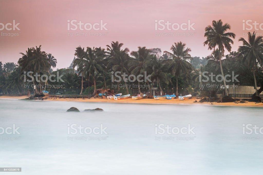 Sri Lanka. Beruwela. Fishing village, boats on the shore. stock photo