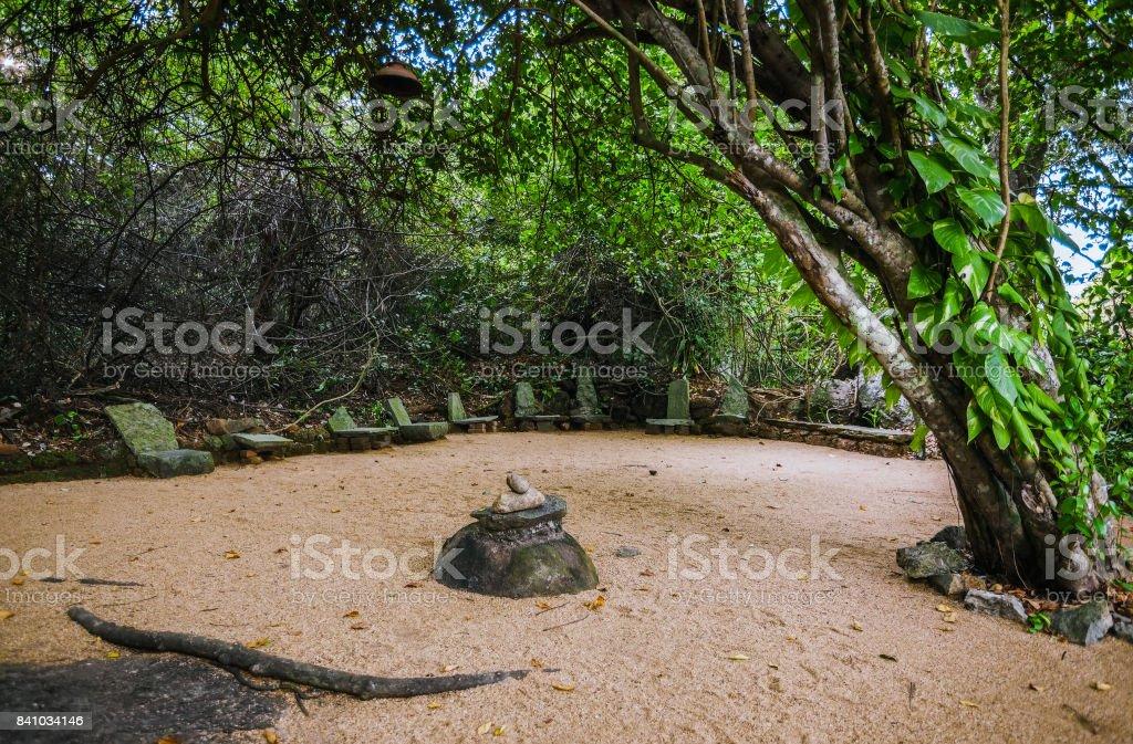 Sri Lanka. Beruwela. Place for meditation stock photo