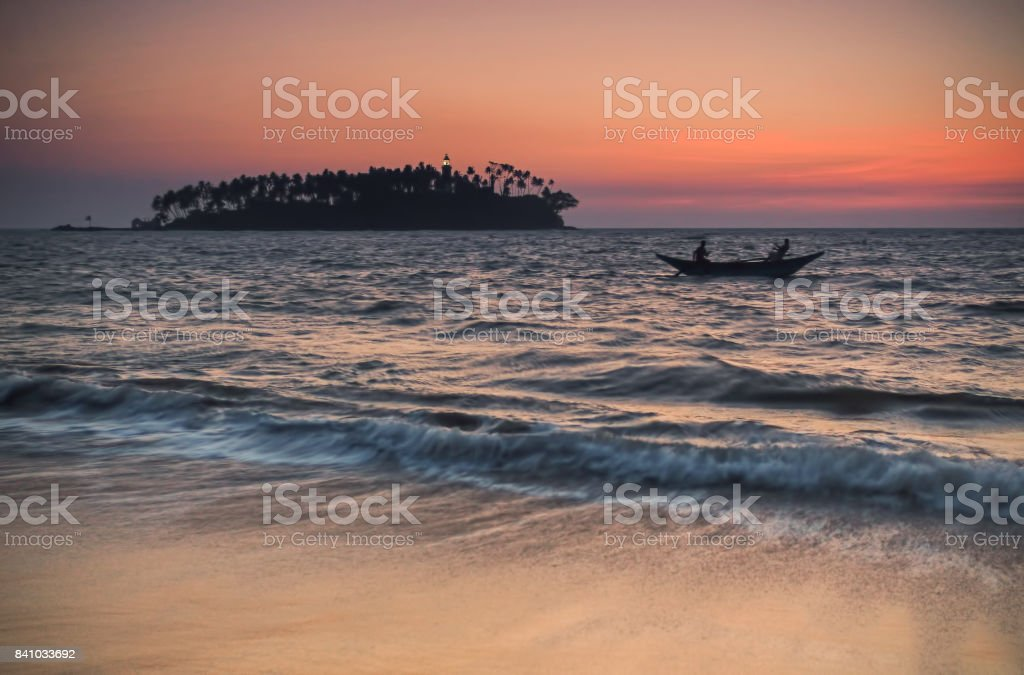 Sri Lanka. Beruwela. The boat with the fishermen back home. stock photo