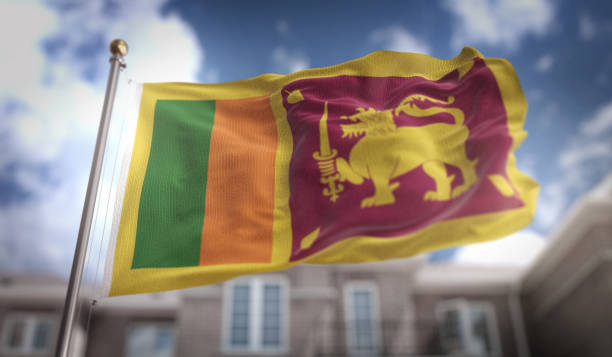 Sri Lanka Flag 3D Rendering On Blue Sky Building Background Stock Photo
