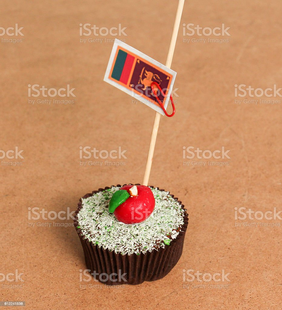 sri lanka flag on a apple cupcake stock photo