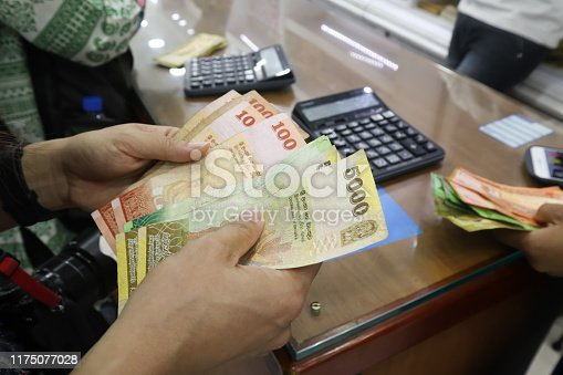 Sri lanka money currency exchange.Tourist change there dollar banknote to Sri lanka for shopping.