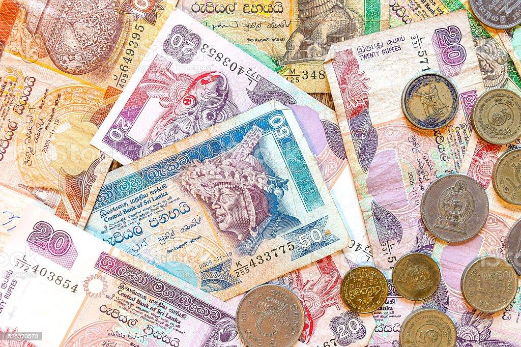 Sri Lanka money Rupee, banknotes and coins. stock photo
