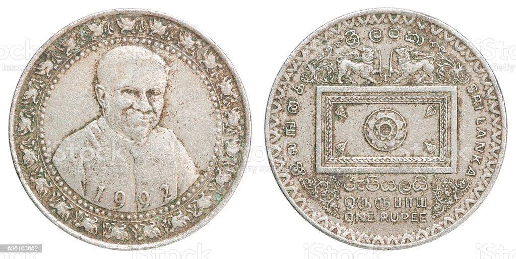 Sri Lanka rupee coin stock photo
