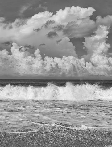 Waves crashing onto a beach in Sri Lanka