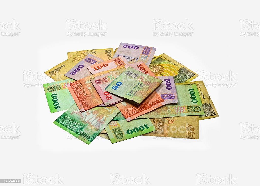 Sri Lankan Currency Rupee Notes stock photo