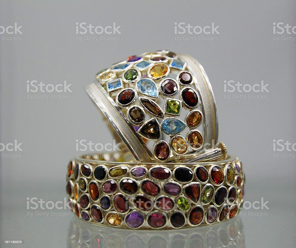 Sri Lankan gems on a bracelet stock photo