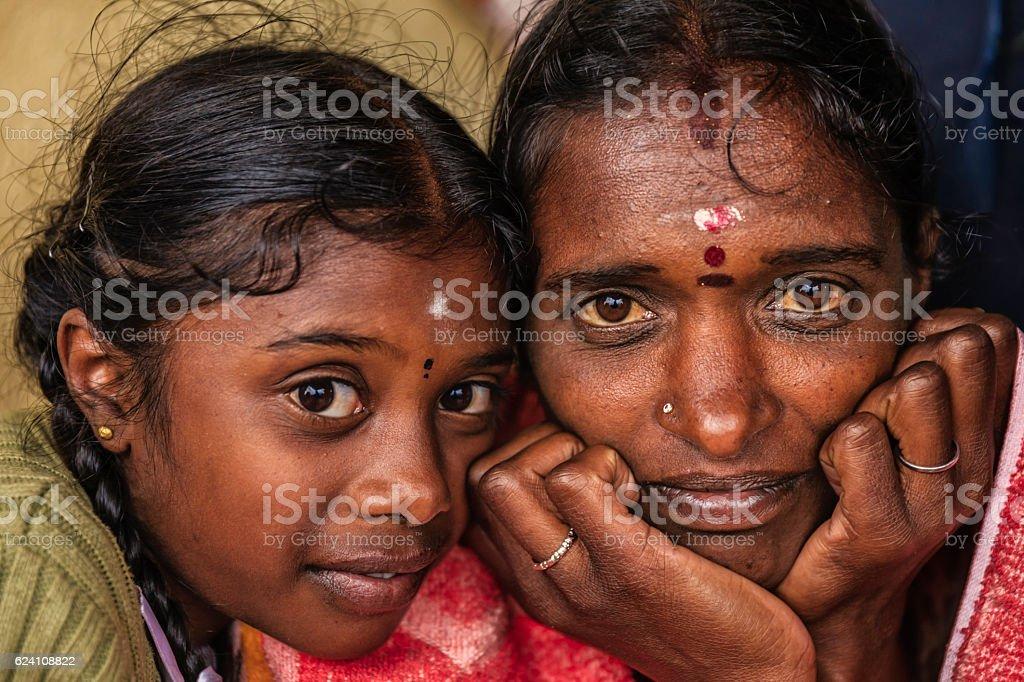 Sri Lankan little girl with her mother, Nuwara Eliya, Ceylon stock photo