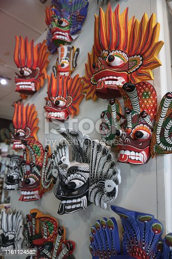 Sri Lankan masks for different holidays. Religious ancient rituals and creativity. Stock photo