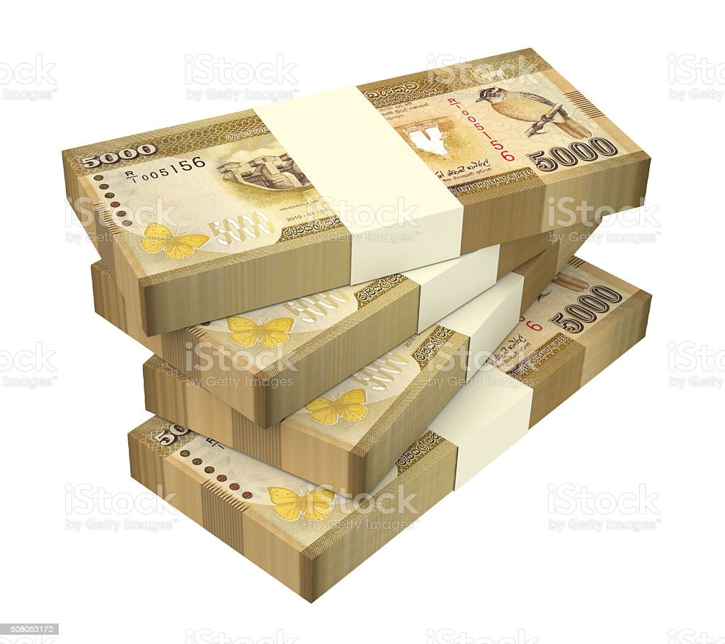 Sri Lankan rupee bills isolated on white background. stock photo