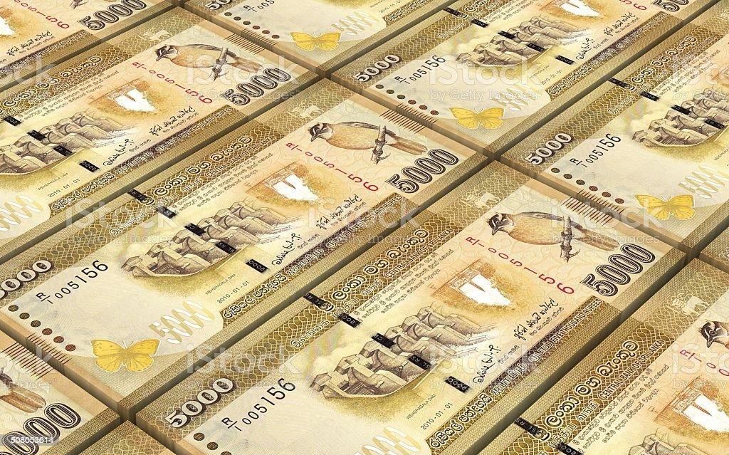 Sri Lankan rupee bills stacks background stock photo