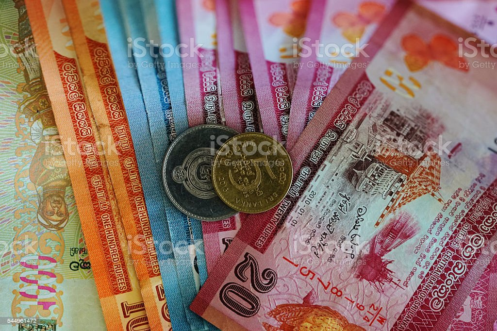 Sri Lankan Rupee Money Currency Notes and Coins stock photo