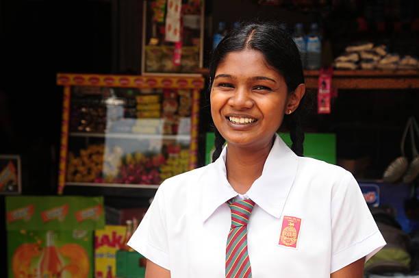 Sri Lankan Schoolgirl,Dambulla. stock photo
