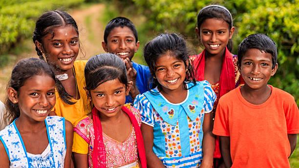 Sri Lankan young children near Nuwara Eliya, Ceylon stock photo