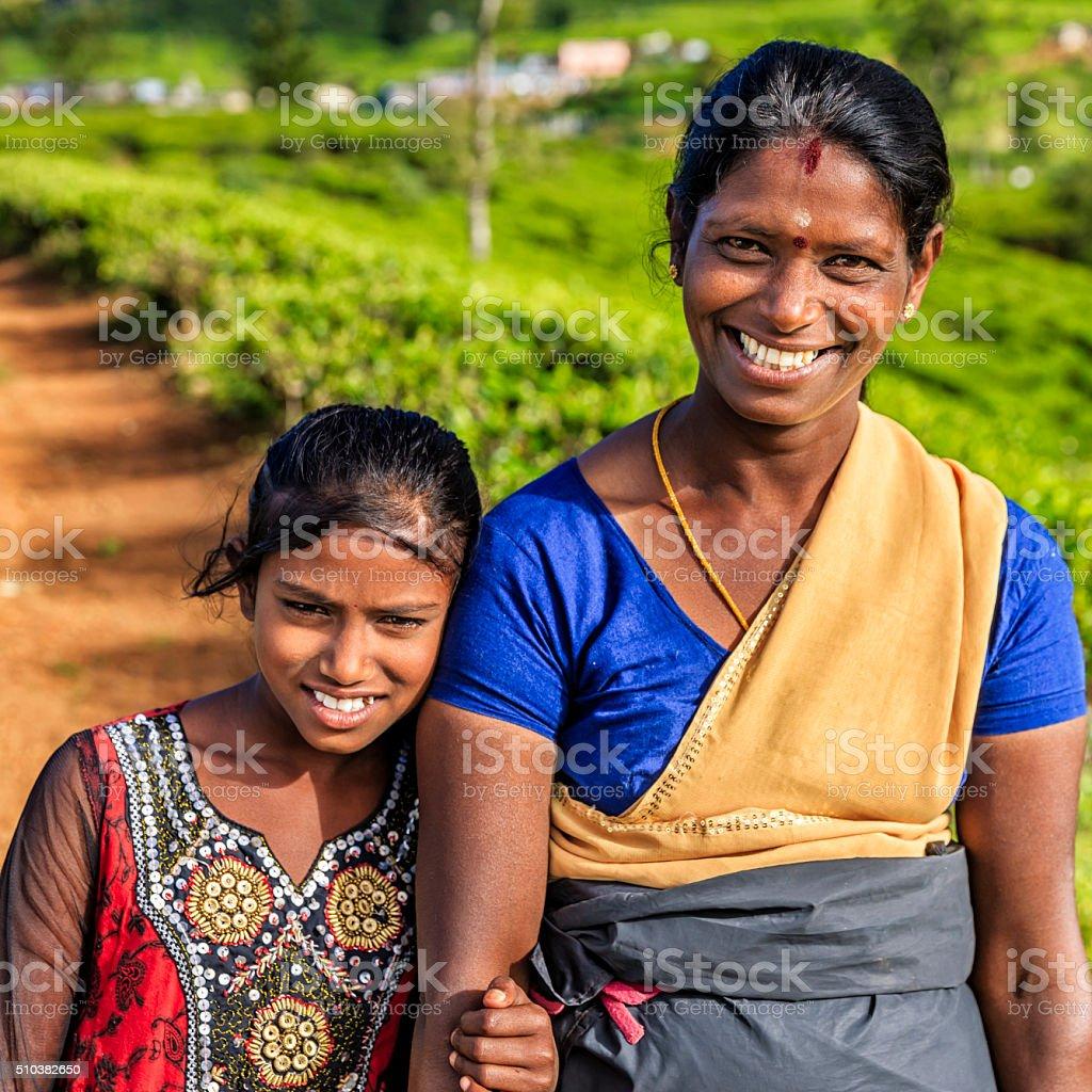 Sri Lankan young girl with her mother, Nuwara Eliya, Ceylon stock photo