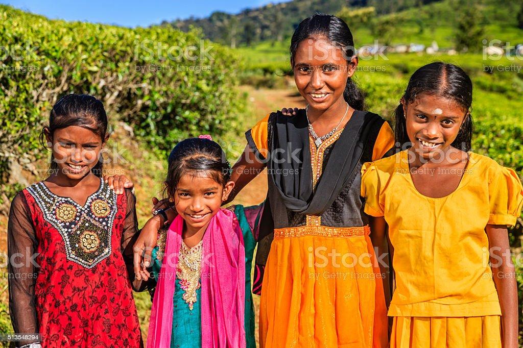 Sri Lankan young girls near Nuwara Eliya, Ceylon stock photo