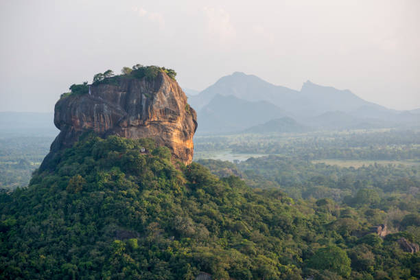 Sri Lanka's Sigiriya rock fortress viewed from Pidurangala Rock stock photo