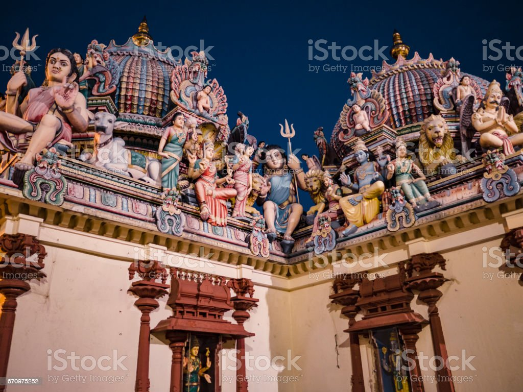 Sri Mariamman Temple facade Singapore. This is the oldest hindu temple of the city. It was founded in 1827. stock photo
