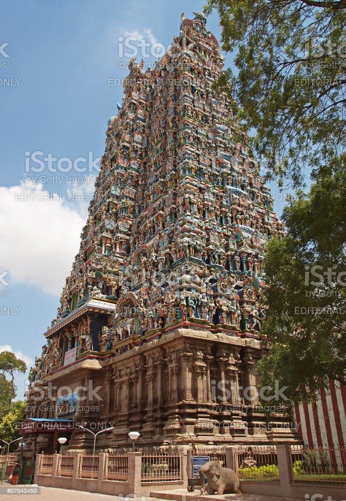 Sri Meenakshi Temple tower entrance stock photo