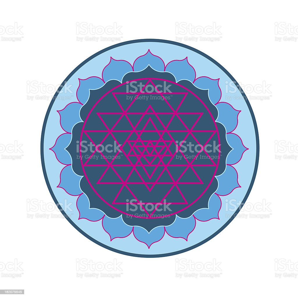 Sri Yantra on Lotus stock photo