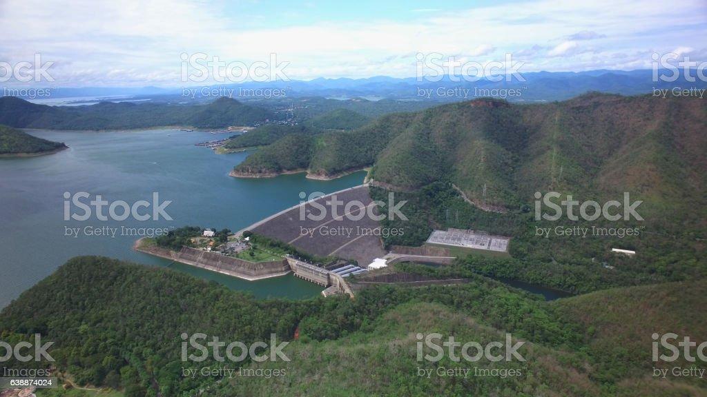 Srinagarind Dam in Kanchanaburi, Thailand stock photo