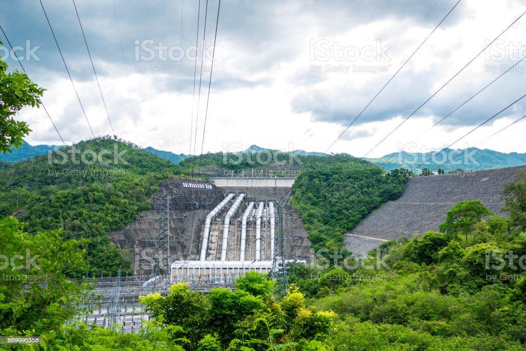 Srinagarind Dam on the Khwae Yai river in Kanchanaburi Province stock photo