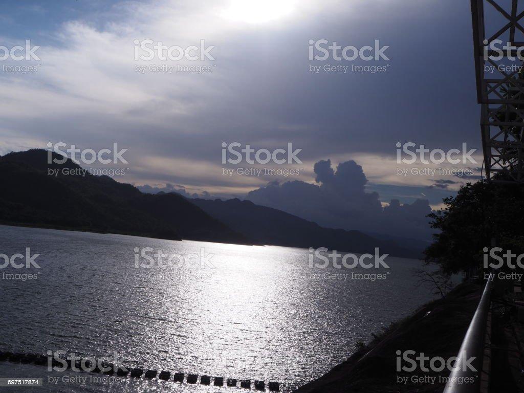 Srinagarind lake stock photo