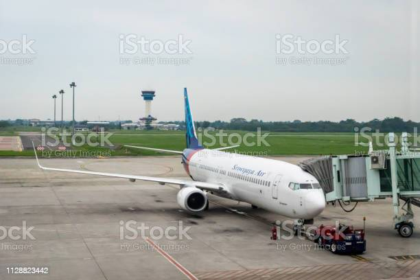 Sriwijaya Air Aircraft On Runway Of Kualanamu Medan Airport Medan Indonesia Stock Photo - Download Image Now