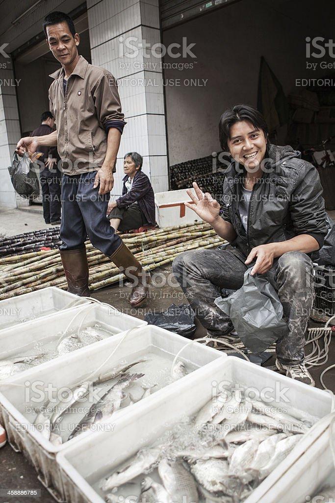 Srteet-side Fish Market in China stock photo