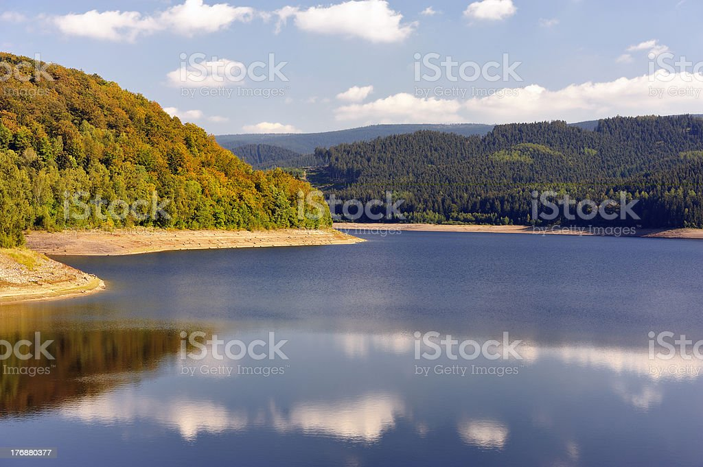 Sösestausee and autumn woods royalty-free stock photo
