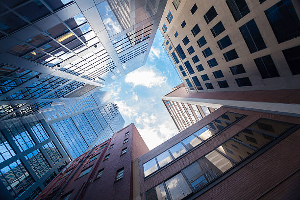 Sskyscrapers in city stock photo