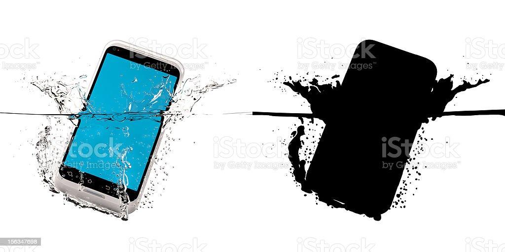 Ssmartphone fallen in water. stock photo