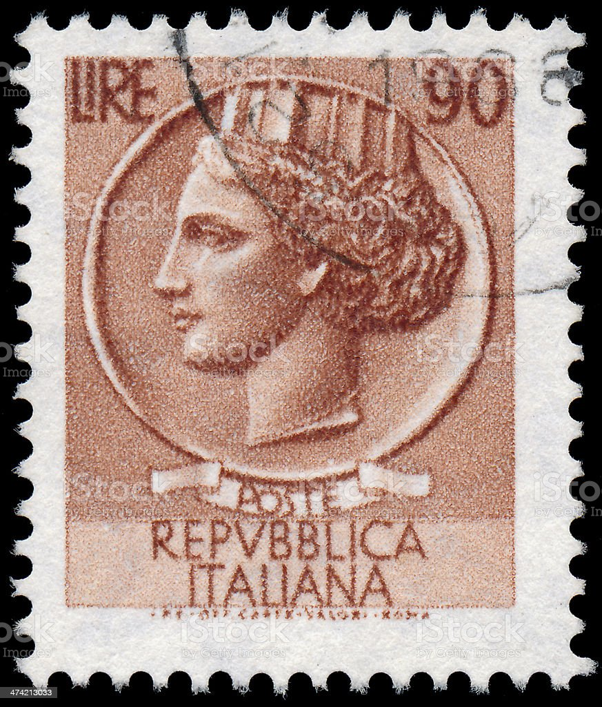 Sstamp printed in Italy shows Italia Turrita royalty-free stock photo