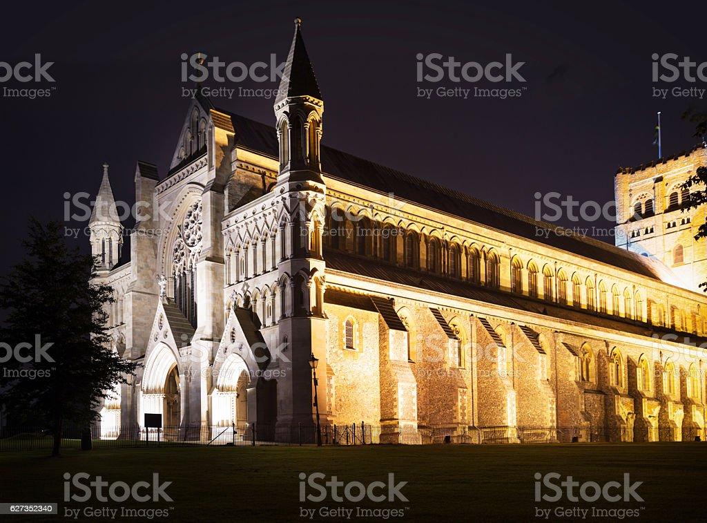 St Albans abbey church illumination England UK stock photo
