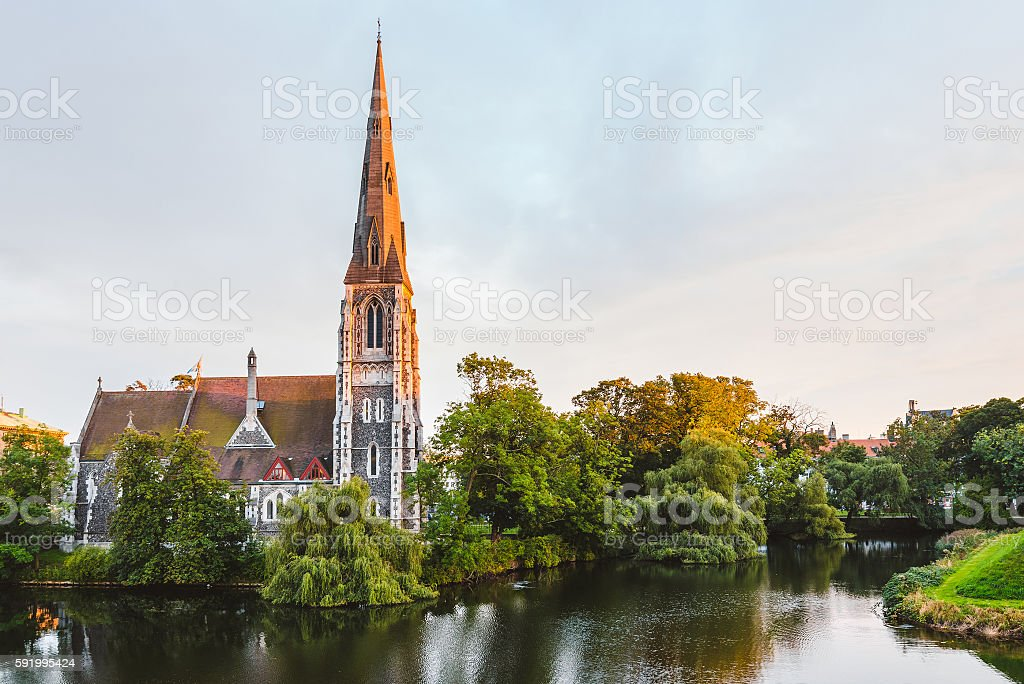 St. Alban's Church at Golden Hour Time stock photo