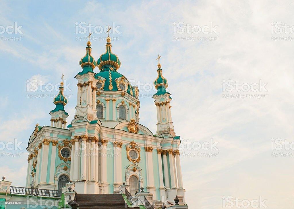 St. Andrew church - Kiev, Ukraine in the morning stock photo