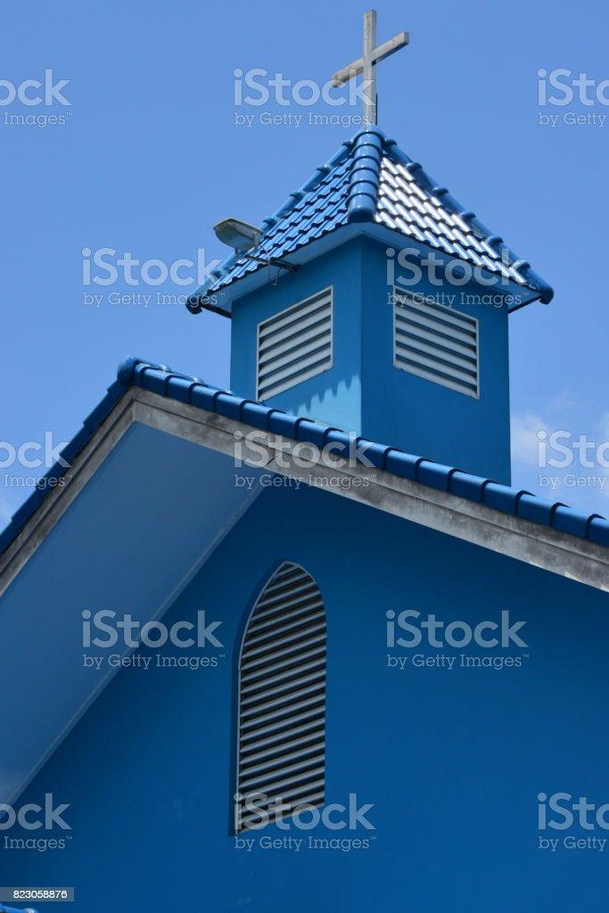 St. Andrew's Anglican church cross and gable, Bandar Seri Begawan, Brunei stock photo
